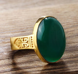 Men's Ring with Green Agate in 10k Yellow Gold - J  F  M