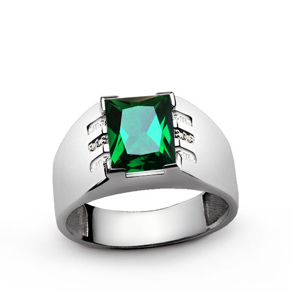Men's Gemstone Ring with Natural Diamonds and Green Emerald in Sterling Silver - J  F  M