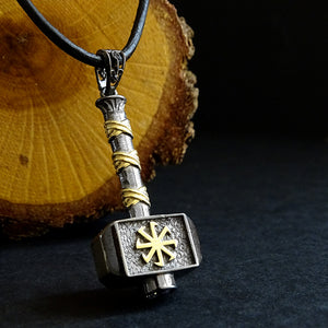 Silver Viking Warrior War Hammer Necklace Men's Weapon Pendant