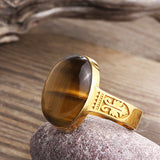 14k Yellow Gold Ring for Men with Brown Tiger's Eye Natural Stone, Men's Artdeco Ring - J  F  M