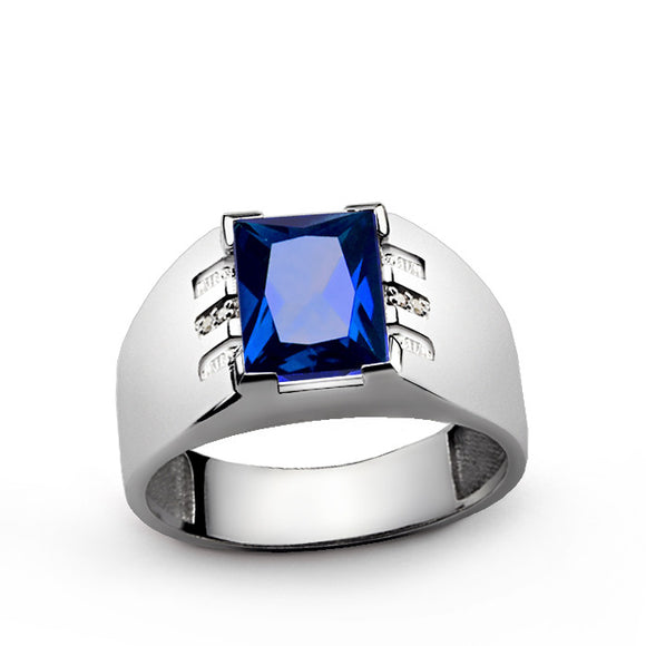 Men's Sapphire Ring in 925 Sterling Silver with Genuine Diamonds - J  F  M