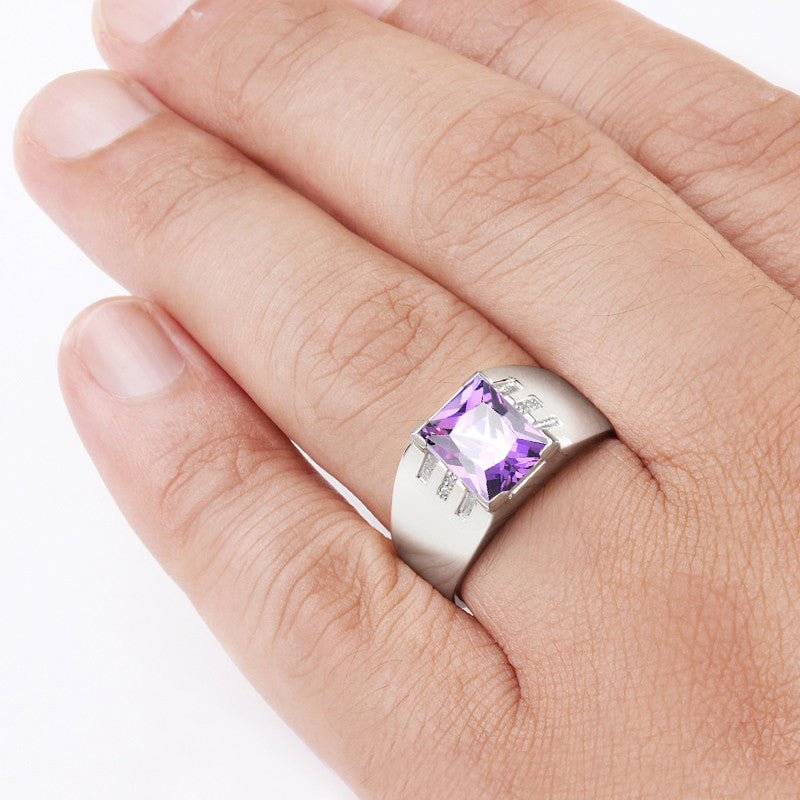 Men's Ring with Amethyst Gemstone and Natural Diamonds in Sterling Silver - J  F  M