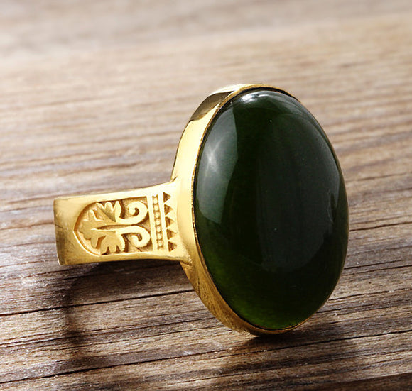 10k Yellow Gold Men's Ring with Green Agate Stone - J  F  M
