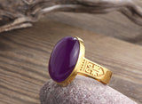 Men's Agate Ring in 14k Yellow Gold Artdeco Ring, Natural Purple Stone Ring for Men - J  F  M