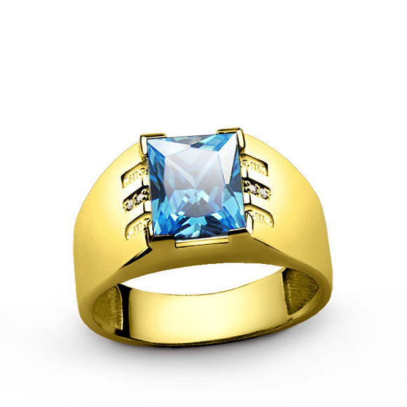 Men's Diamonds Ring in 14k Yellow Gold with blue Topaz Gemstone - J  F  M
