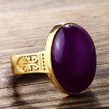 Men's Ring 10k Yellow Gold with Purple Agate Stone, Artdeco Style Ring for Men - J  F  M