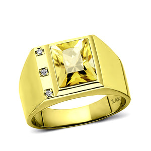 Solid 14K Gold Yellow Citrine Ring 0.06ct Natural Diamonds Fine Mens Ring All Sz