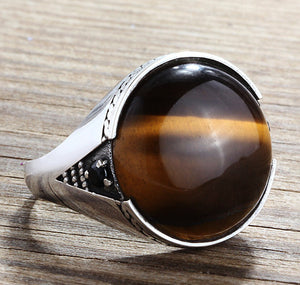 Men's Ring 925 Sterling Silver with Brown Tiger's Eye, Natural Stone Statement Ring for Men - J  F  M