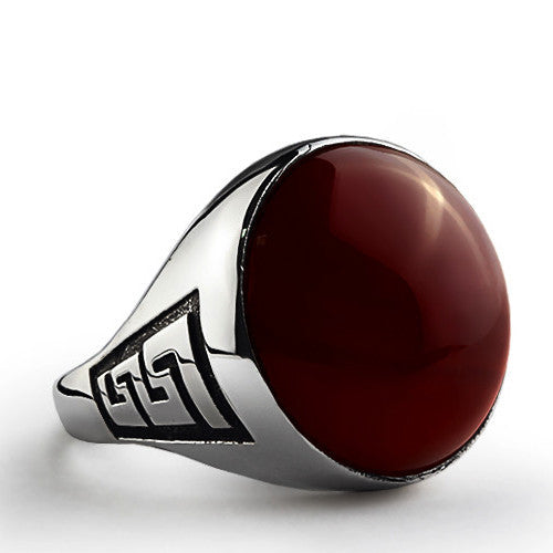 Men's Ring 925 Sterling Silver with Red Agate Stone, Statement Ring for Men - J  F  M