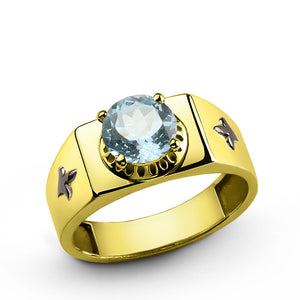 14k Yellow Gold Men's Ring with BlueTopaz, Gemstone ring for Men - J  F  M