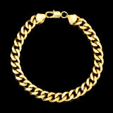 7mm Mens 18k Gold Plated Sterling Silver Heavy Cuban Chain Link Bracelet 9 inch