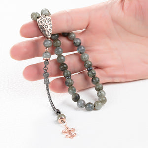 Labradorite Worry Beads Natural Gray Gemstones with 925 Silver Islamic 33 Tasbih