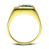Mens Solid 18K Gold Blue Topaz Ring with 3 Natural Diamond Accents All Sizes