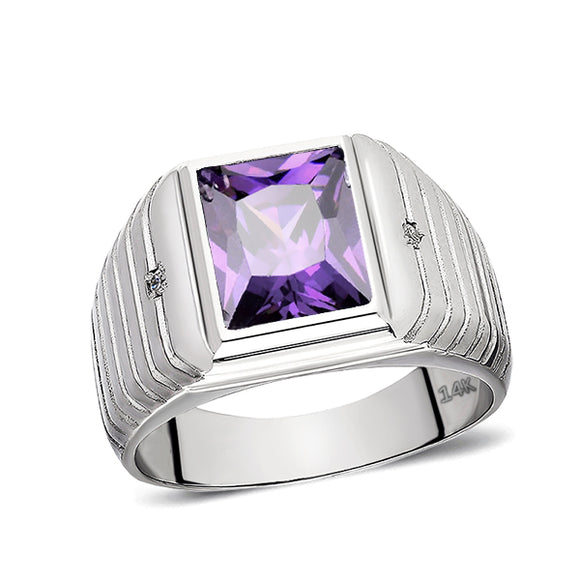 Solid 14K White Gold Amethyst Mens Ring 0.04ctw Natural Diamonds Ring for Men