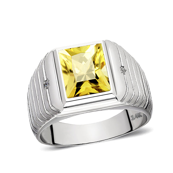 Solid 14K White Gold Citrine Mens Ring 0.04ct Natural Diamonds Ring for Men