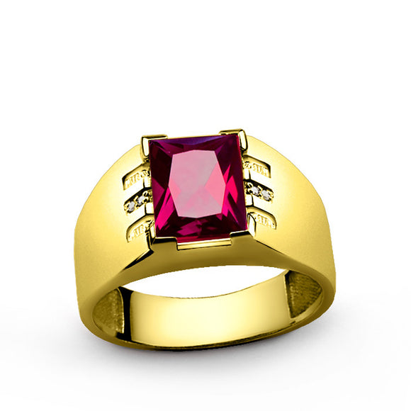 Men's Ring 14k Yellow Gold with Ruby Gemstone and Diamonds - J  F  M