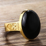 ArtDeco Men's Ring in 10k Yellow Gold with Black Onyx, Natural Stone Ring for Men - J  F  M