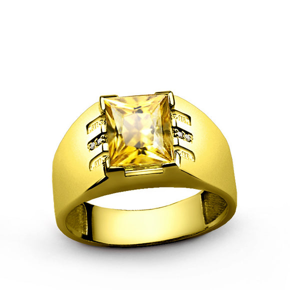 Men's Ring with Citrine Gemstone and Diamonds in 14k Solid Yellow Gold - J  F  M