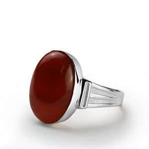 Men's Red Agate Ring in 925 Sterling Silver with Natural Gemstone - J  F  M