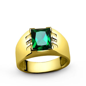 Men's Emerald Ring with Natural Diamonds in 10k Yellow Gold, Statement Ring for Men - J  F  M