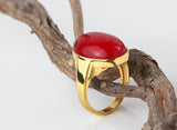Statement Men's Ring in 10k Yellow Gold with Natural Red Agate Stone - J  F  M