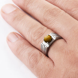 Round Brown Tiger's Eye and Natural Diamonds Men's Gemstone Ring in 925 Sterling Silver