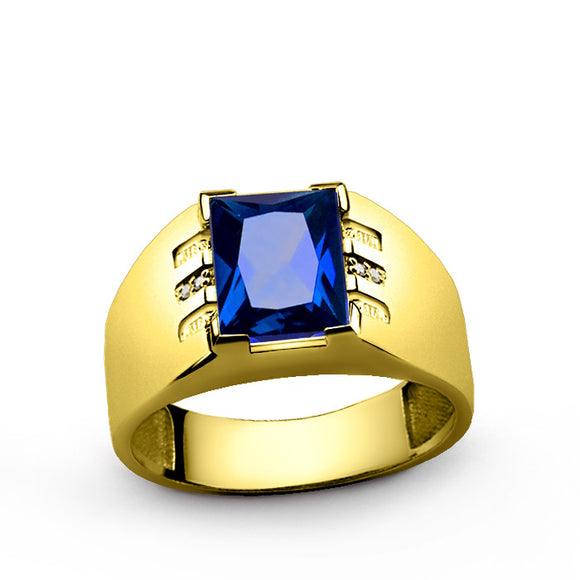 10k Yellow Gold Men's Ring with Sapphire and Genuine Diamonds - J  F  M