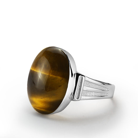 Men's Ring Sterling Silver with Brown Tiger's Eye Natural Gemstone - J  F  M