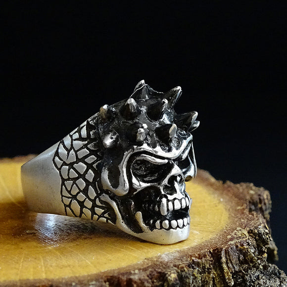 Mens Statement 925 Sterling Silver 3D Skull Head Biker Open Ring