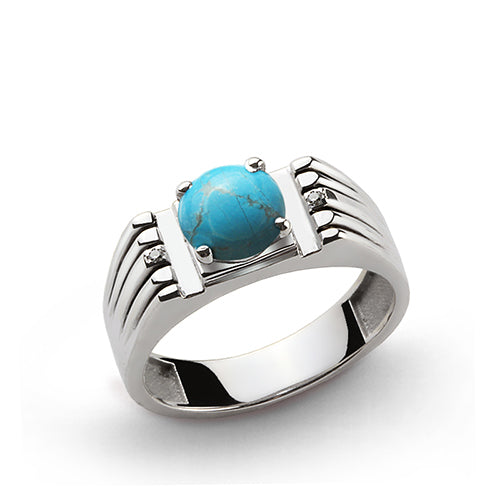 Round Blue Turquoise and Natural Diamonds Men's Ring in 925 Sterling Silver