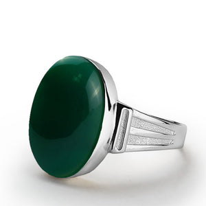 925 Sterling Silver Men's Ring with Green Agate Natural Gemstone - J  F  M