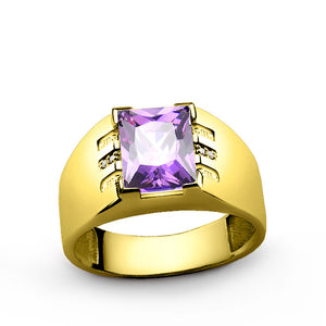 Men's Ring with Amethyst and Natural Diamonds in 10k Yellow Gold - J  F  M