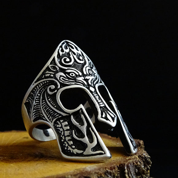 925 Silver Gladiator Mask Mens Ring Ancient Warrior Accessory