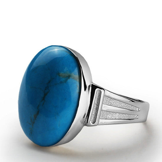 Men's Turquoise Ring 925 Sterling Silver, Natural Blue Stone Ring for Men - J  F  M