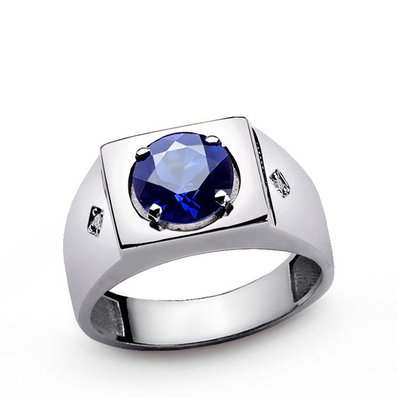 Men's Sapphire Ring with Natural Diamonds in Sterling Silver - J  F  M