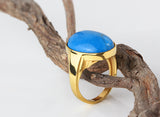 Men's Ring 10k Gold with Natural Blue Turquoise, Statement Ring for Men - J  F  M