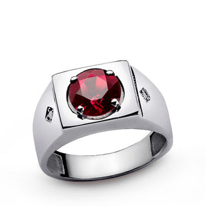 Men's Silver Ring with Red Ruby Gemstone and Natural Diamonds - J  F  M