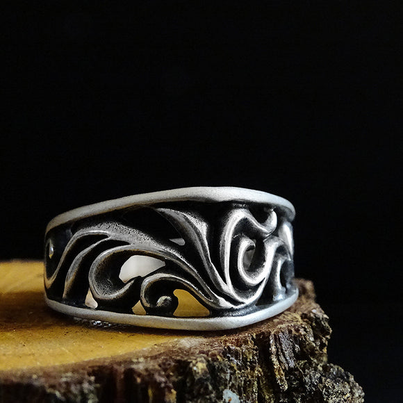 Tribal Heavy Solid 925 Silver Men's Ring