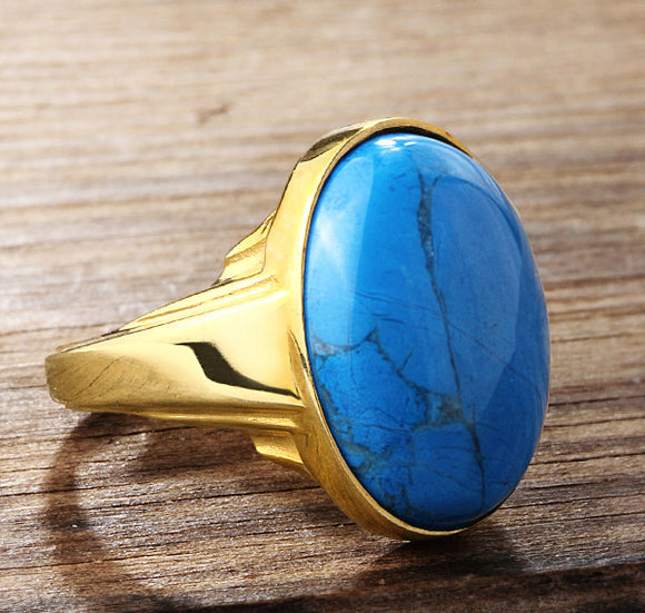 Turquoise Ring for Men in 14k Yellow Gold, Men's Statement Ring - J  F  M