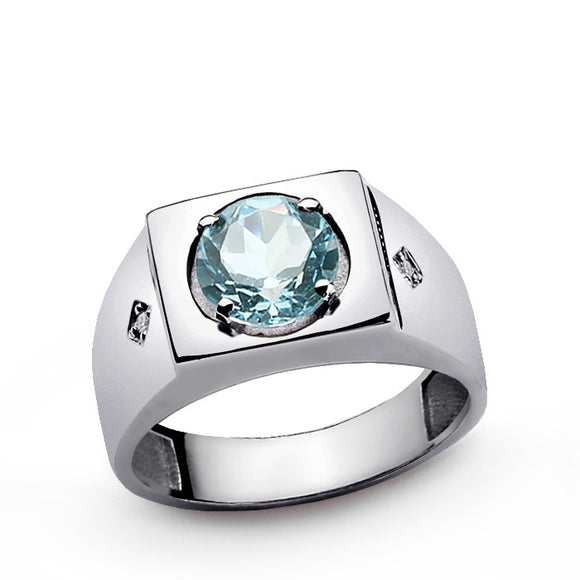 Statement Men's Ring with Blue Topaz and Natural Diamonds in 925 Sterling Silver - J  F  M