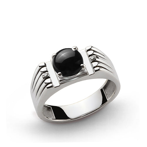 Round Black Onyx and Natural Diamonds Men's Gemstone Ring in 925 Sterling Silver
