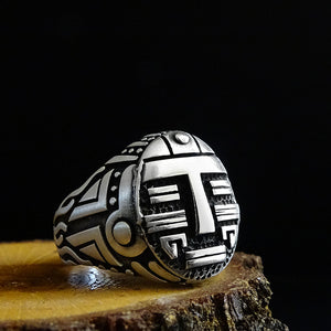 Aztec Face Mens Signet 925 Sterling Silver Ring