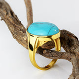 Turquoise Men's Ring in 10k Yellow Gold Natural Blue Stone Ring - J  F  M