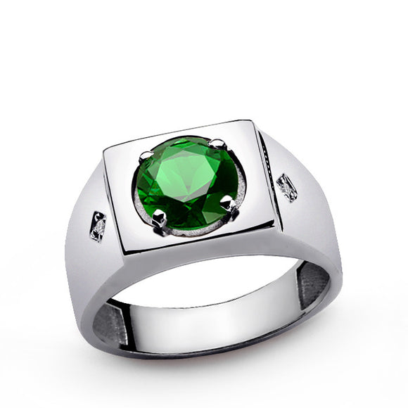 Men's Green Emerald Ring with Natural Diamonds in Sterling Silver - J  F  M
