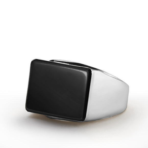 Men's Ring Black Onyx in 925 Sterling Silver, Black Stone Ring for Men - J  F  M