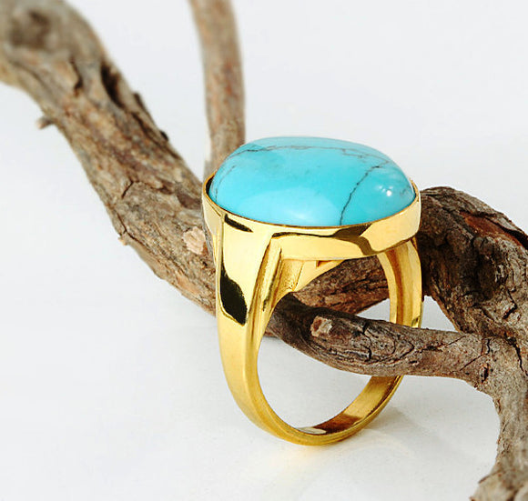 Blue Turquoise Men's Ring in 14k Yellow Gold, Natural Stone Ring for Men - J  F  M
