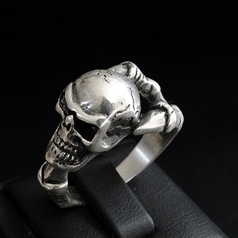 Skull 925 Sterling Silver Mens Biker Gothic Ring Punk Jewellery