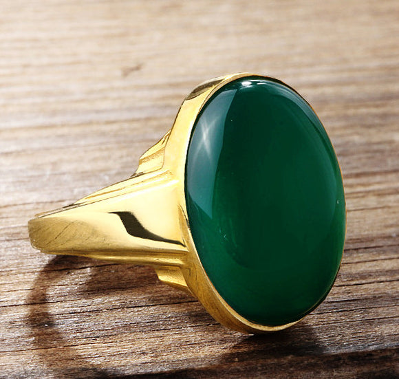 Men's Ring with Green Agate Natural Stone in 14k Yellow Gold - J  F  M