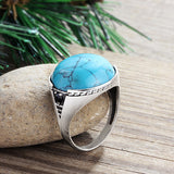 Men's Ring 925 Sterling Silver with Blue Turquoise Natural Gemstone - J  F  M