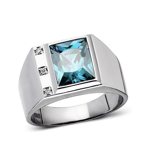 Rectangular Blue Topaz 925 Solid Sterling Silver Ring for Men with 3 Diamonds